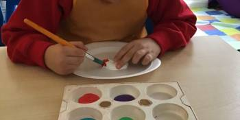 Art- He was also excited to choose an animal to paint. He picked a chameleon and named him Rainbow bean.